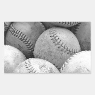 Vintage Baseballs in Black and White Rectangular Sticker