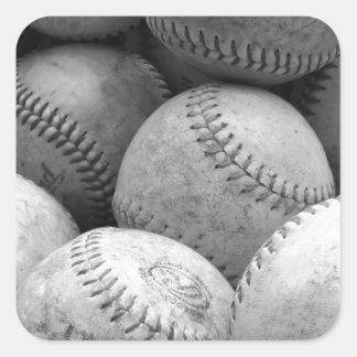 Vintage Baseballs in Black and White Square Sticker