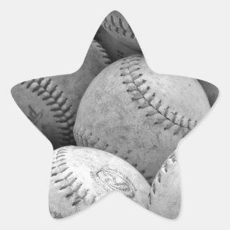 Vintage Baseballs in Black and White Star Sticker