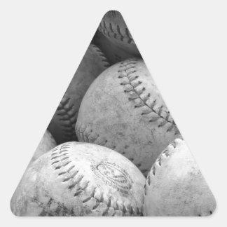 Vintage Baseballs in Black and White Triangle Sticker