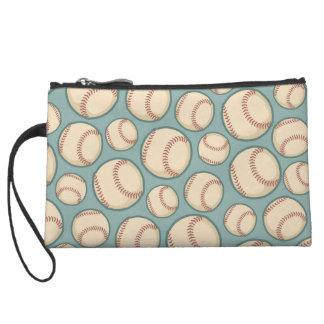 Vintage Baseballs Pattern Wristlet Wallet