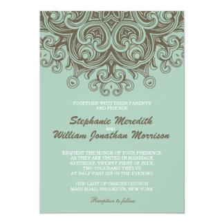 Vintage Basil Blue Wedding Invitation