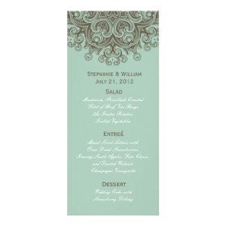 Vintage Basil Blue Wedding Menu Rack Card