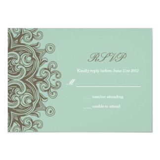 Vintage Basil Blue Wedding RSVP Card