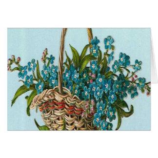 Vintage, Basket of Blue Flowers Card