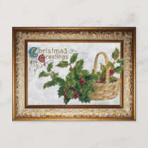 Vintage Basket of Holly and Christmas Greetings Holiday Postcard