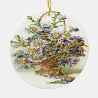 Vintage Basket of Purple Flowers Ceramic Ornament