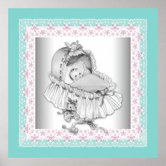 Vintage Bassinet Pink and Teal Blue Baby Girl Poster