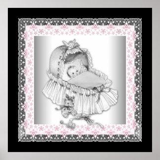 Vintage Bassinet Pink Baby Girl Poster