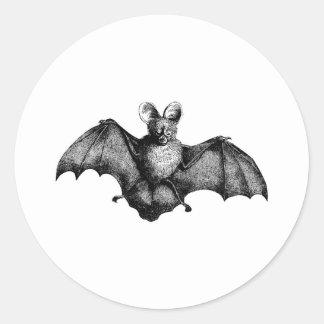 Vintage Bat Classic Round Sticker