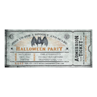 Vintage Bat Halloween Ticket Invitation II