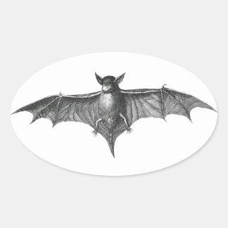 Vintage bat illustration for Halloween Oval Sticker