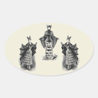 Vintage Bat Ladies Oval Sticker