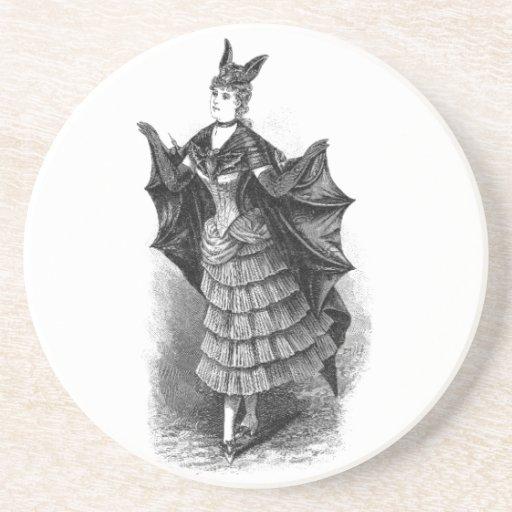 Vintage Bat Lady Drink Coasters