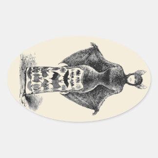 Vintage Bat Lady Oval Sticker