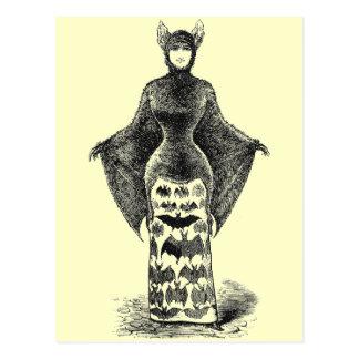 Vintage Bat Lady Postcard