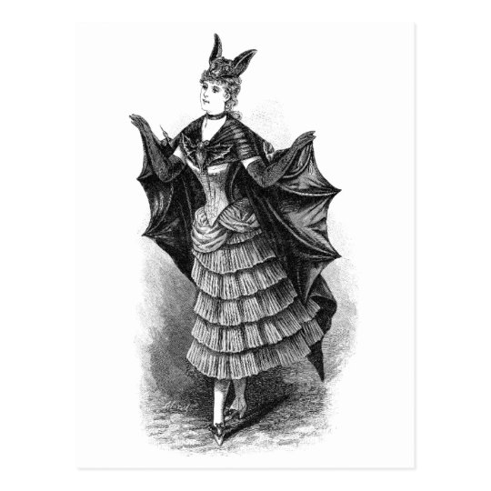 Vintage Bat Lady Postcard