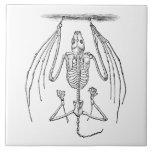 Vintage Bat Skeleton- Bats and Halloween Template Large Square Tile