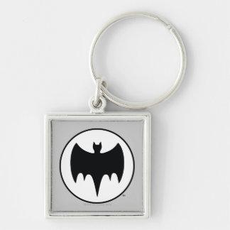 Vintage Bat Symbol Silver-Colored Square Keychain