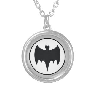 Vintage Bat Symbol Silver Plated Necklace