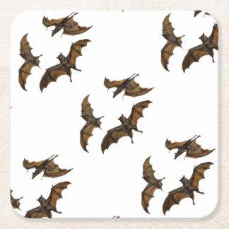 Vintage Bat Trio on White Square Paper Coaster