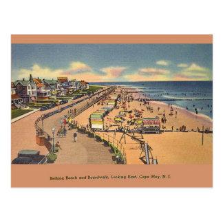 Vintage Bathing Beach Cape May NJ Postcard
