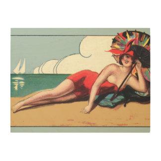 Vintage Bathing Beauty Beach House Decor Art Deco Wood Wall Decor