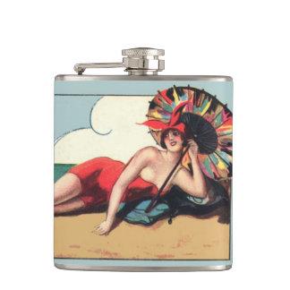 Vintage Bathing Beauty Beach Whiskey Hip Flask