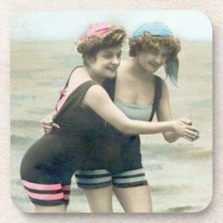 Vintage Bathing Beauty Beverage Coaster