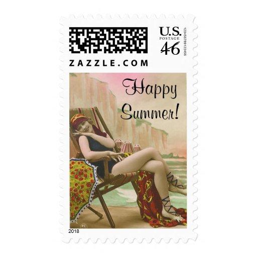 Vintage Bathing Beauty Postage Stamp