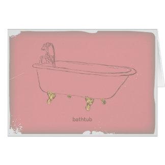 Vintage Bathtub -pink Greeting Cards