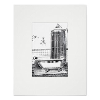 Vintage Bathtub Poster