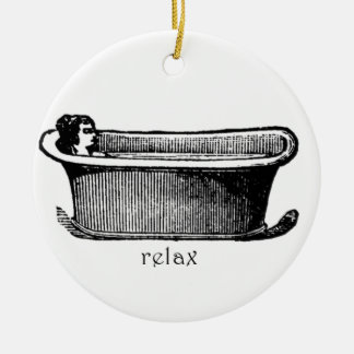 Vintage Bathtub Relax stamp Ceramic Ornament