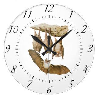 Vintage Bats Illustration, Animal Drawing Large Clock