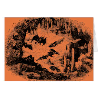 Vintage Bats in Cave 1800s Bat Halloween Orange Greeting Card