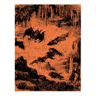 Vintage Bats in Cave 1800s Bat Halloween Orange Postcard
