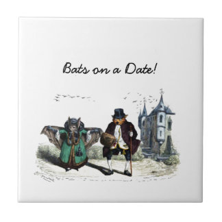Vintage Bats on a Date Small Square Tile