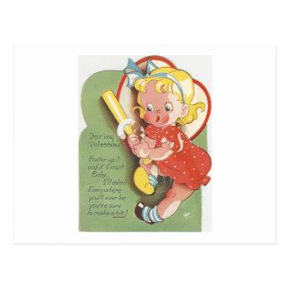 Vintage Batter Girl Valentine Postcard
