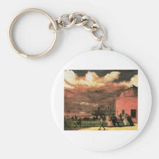 """Vintage """"Battery Park"""" circa 1902-1904 Basic Round Button Keychain"""