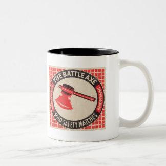Vintage Battle Axe Matchbox Logo Two-Tone Coffee Mug