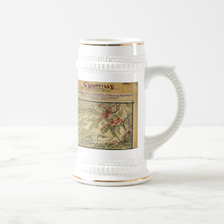 Vintage Battle of Chantilly Map (1862) Beer Stein
