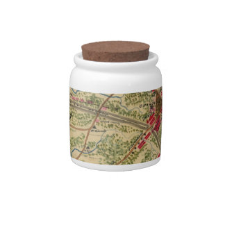 Vintage Battle of Chantilly Map (1862) Candy Jar