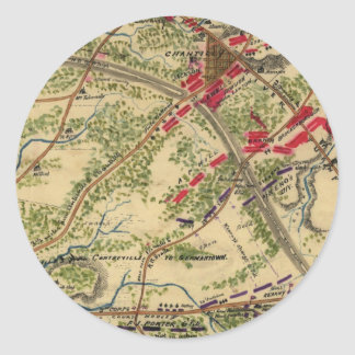 Vintage Battle of Chantilly Map (1862) Classic Round Sticker
