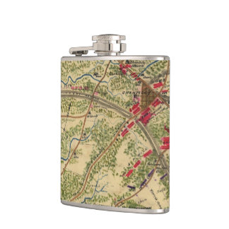 Vintage Battle of Chantilly Map (1862) Flask