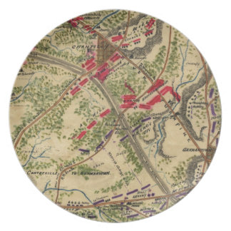 Vintage Battle of Chantilly Map (1862) Melamine Plate