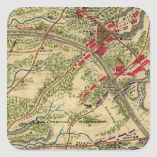 Vintage Battle of Chantilly Map (1862) Square Sticker