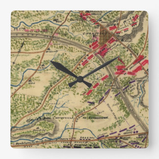 Vintage Battle of Chantilly Map (1862) Square Wall Clock