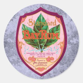 Vintage Bay Rum Label Classic Round Sticker