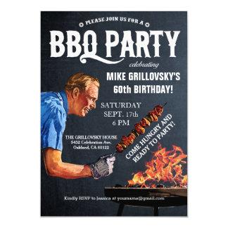Vintage BBQ Birthday Party Invitations Chalkboard