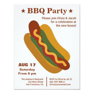Vintage BBQ Hot Dog Housewarming Party Card